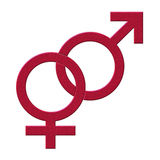Male and female. Symbols with white background Royalty Free Stock Image