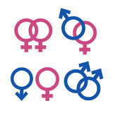 Male and Female. Symbols isolated i white Royalty Free Stock Photography