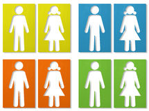 Male & female. Corrugated paper stick on white background Stock Photo