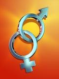 Male and female. Masculine and feminine symbols interlocked. Digital illustration Stock Image