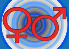 Male & female. Male and female signs in concentric circles ina blue background Royalty Free Stock Images
