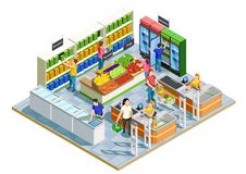 People Shopping Isometric Illustration. Male and female adults doing shopping in small supermarket on white background 3d isometric vector illustration Royalty Free Stock Photos