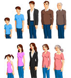 Male and female aging. Series of graphics illustrating the appearance of aging in males and females over time Stock Images