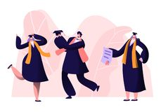 Male and Female Alumnus Graduating University, College or School. Cheerful People In Academical Cap and Gown Rejoice, Professor. Show Diploma Certificate to vector illustration