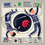 Male and female astronauts in zero gravity on a spaceship royalty free illustration