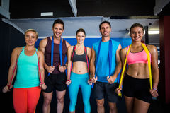 Male and female athletes with resistance band Royalty Free Stock Photo