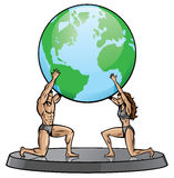 Male and Female Atlas. Supporting the world. Continents can easily removed vector illustration