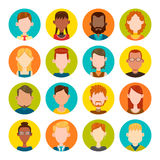 16 male and female avatar set. 16 colorful round icons with male and female avatars. Vector illustration. Hair, glasses and earrings are isolated and Royalty Free Stock Image