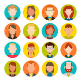 16 male and female avatar set. 16 colorful round icons with male and female avatars. Vector illustration. Hair, glasses and earrings are isolated and Royalty Free Stock Photography