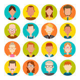 16 male and female avatar set. 16 colorful round icons with male and female avatars. Vector illustration. Hair, glasses and earrings are isolated and Royalty Free Stock Photo