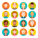 16 male and female avatar set. 16 colorful round icons with male and female avatars. Vector illustration. Hair, glasses and earrings are isolated and Royalty Free Stock Images