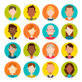 16 male and female avatar set. 16 colorful round icons with male and female avatars. Vector illustration. Hair, glasses and earrings are isolated and Stock Photos