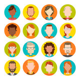 16 male and female avatar set. 16 colorful round icons with male and female avatars. Vector illustration. Hair, glasses and earrings are isolated and Stock Photo
