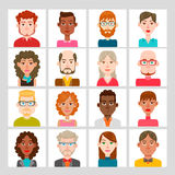 16 male and female avatar set. Vector illustration. Hair, glasses and earrings are isolated and interchangeables Royalty Free Stock Image