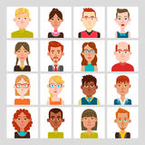 16 male and female avatar set. Vector illustration. Hair, glasses and earrings are isolated and interchangeables Stock Images