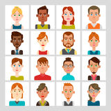 16 male and female avatar set. Vector illustration. Hair, glasses and earrings are isolated and interchangeables Stock Photos