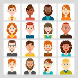 16 male and female avatar set. Vector illustration. Hair, glasses and earrings are isolated and interchangeables Royalty Free Stock Photo