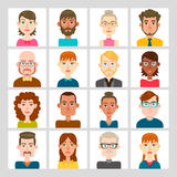 16 male and female avatar set. Vector illustration. Hair, glasses and earrings are isolated and interchangeables Royalty Free Stock Images
