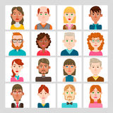 16 male and female avatar set. Vector illustration. Hair, glasses and earrings are isolated and interchangeables Stock Photo