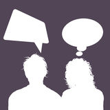 Male and female avatars with speech bubbles Royalty Free Stock Photos
