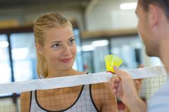 Male and female badminton players. Badminton Royalty Free Stock Photography