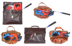 Male and female bags with sport items Stock Photography