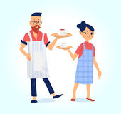 Male and female barista with coffee vector illustration Royalty Free Stock Photo