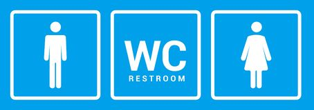 Male female bathroom icon. Restroom boy or girl lady sign symbol. Toilet wc vector concept.  royalty free stock photography
