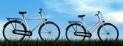 Male and female bicycles - 3D render Stock Photos