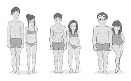 Male and female body types: Ectomorph, Mesomorph and Endomorph. Skinny, muscular and fat bodytypes. Fitness and health illustratio. N stock illustration