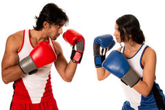 Male and Female Boxers Royalty Free Stock Photo