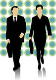 Male and female business people walking. Male and female business people on the colorful background with green circles are moving forward, both holding a Stock Photography
