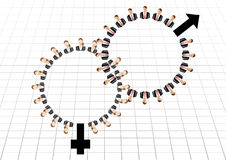 Male female business Work team men and women sign Stock Photography