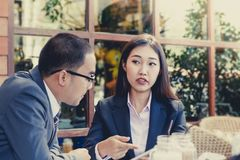 Male and female businessmen royalty free stock photos