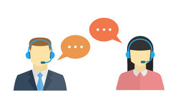 Male and female call center avatar icon. S with a faceless man and woman conceptual of client services and communication Royalty Free Stock Photos