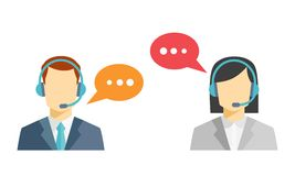 Male and female call center avatar icons Royalty Free Stock Photo