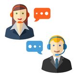 Male and female call center avatar icons Stock Photography