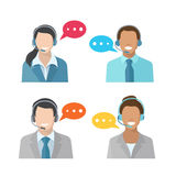 Male and female call center avatar icons Royalty Free Stock Photos