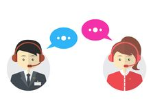 Male and female call center avatar icons, vector Royalty Free Stock Photography