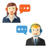 Male and female call center avatars Royalty Free Stock Photo