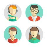 Male and female call center avatars in a flat style with a headset, conceptual of communication. Vector icons set