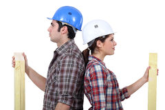 Male and female carpenters Royalty Free Stock Photography