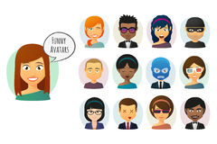 Male and female  cartoon avatar set Royalty Free Stock Photo