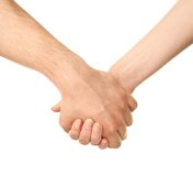 Male and female caucasian hands isolated Stock Photos
