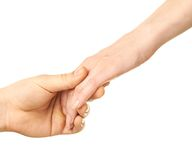 Male and female caucasian hands isolated Royalty Free Stock Image