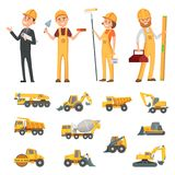Male and female characters of builders and different illustrations of construction equipment, machines. Vector worker builder man and woman royalty free illustration