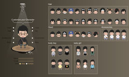 Male and female characters with clothes, hairstyles and accessory. character design - vector illustration Stock Image