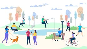 Male and Female Characters Life on Park Background. Crowd of People Performing Summer Outdoor Activities. Walking Dogs, Riding Bicycle, Fishing, Meet Friends stock illustration