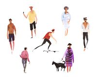 Male and female characters people performing summer outdoor activities. Walking dogs, riding scooter, skateboarding Royalty Free Stock Photo