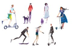 Male and female characters people performing summer outdoor activities walking dogs, riding scooter, skateboarding. Male and female characters people performing Vector Illustration